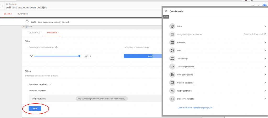 Google optimize A/B test